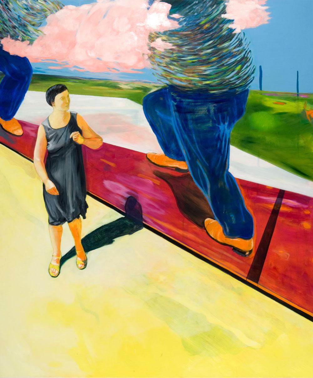 eine Frau in kleinem Schwarzen erschrickt vor riesigen Männern mit blauen Hosen, deren Köpfe in rosa Wolken stecken