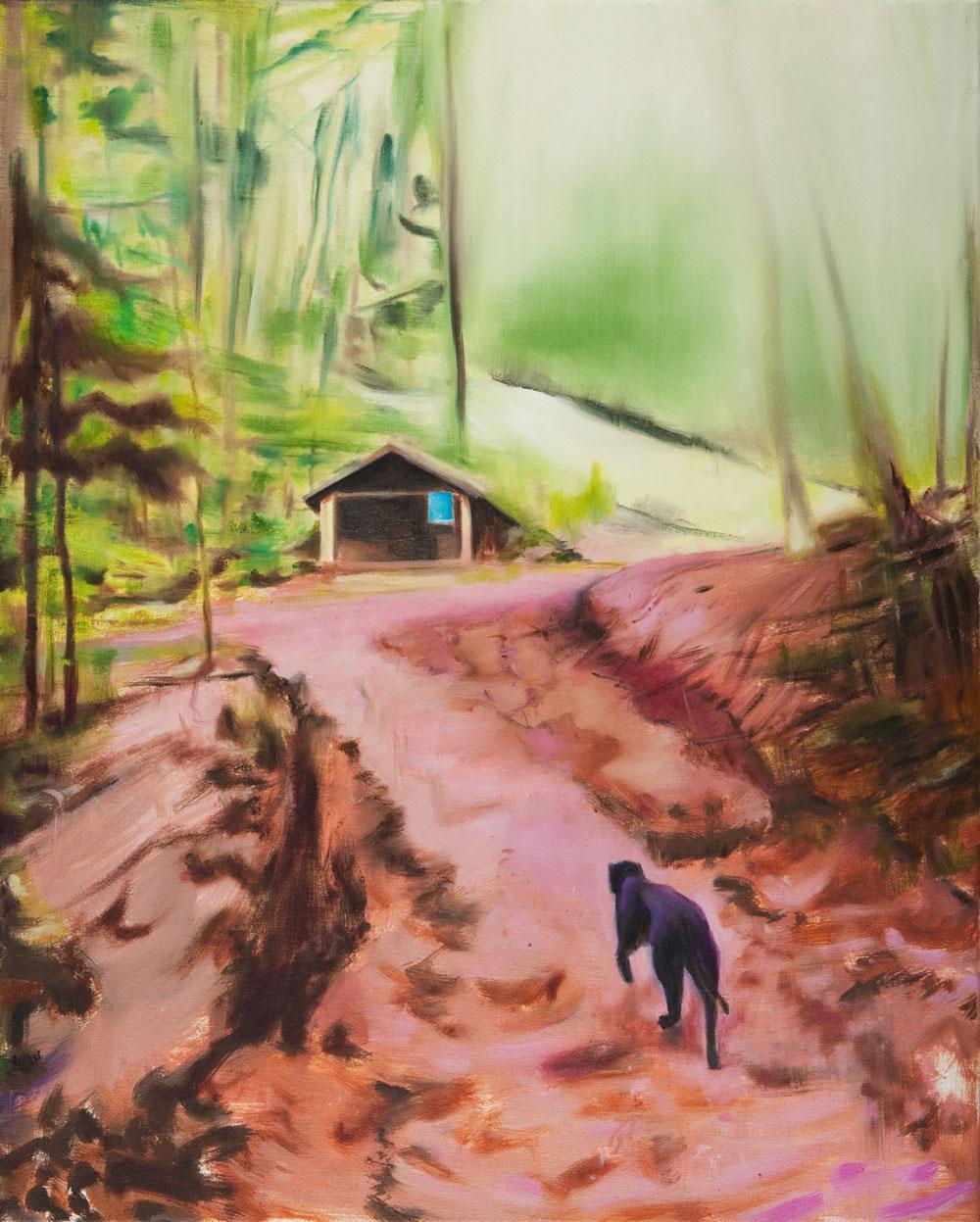 ein Waldweg zur Hütte rote Erde, ein Hund ein Panther