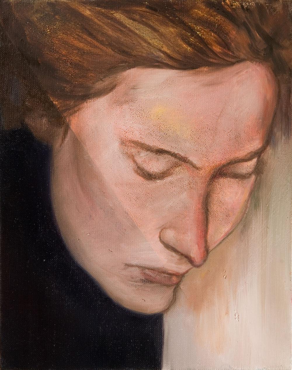 Der Kpf einer jungen Frau mit geschlossenen Augen