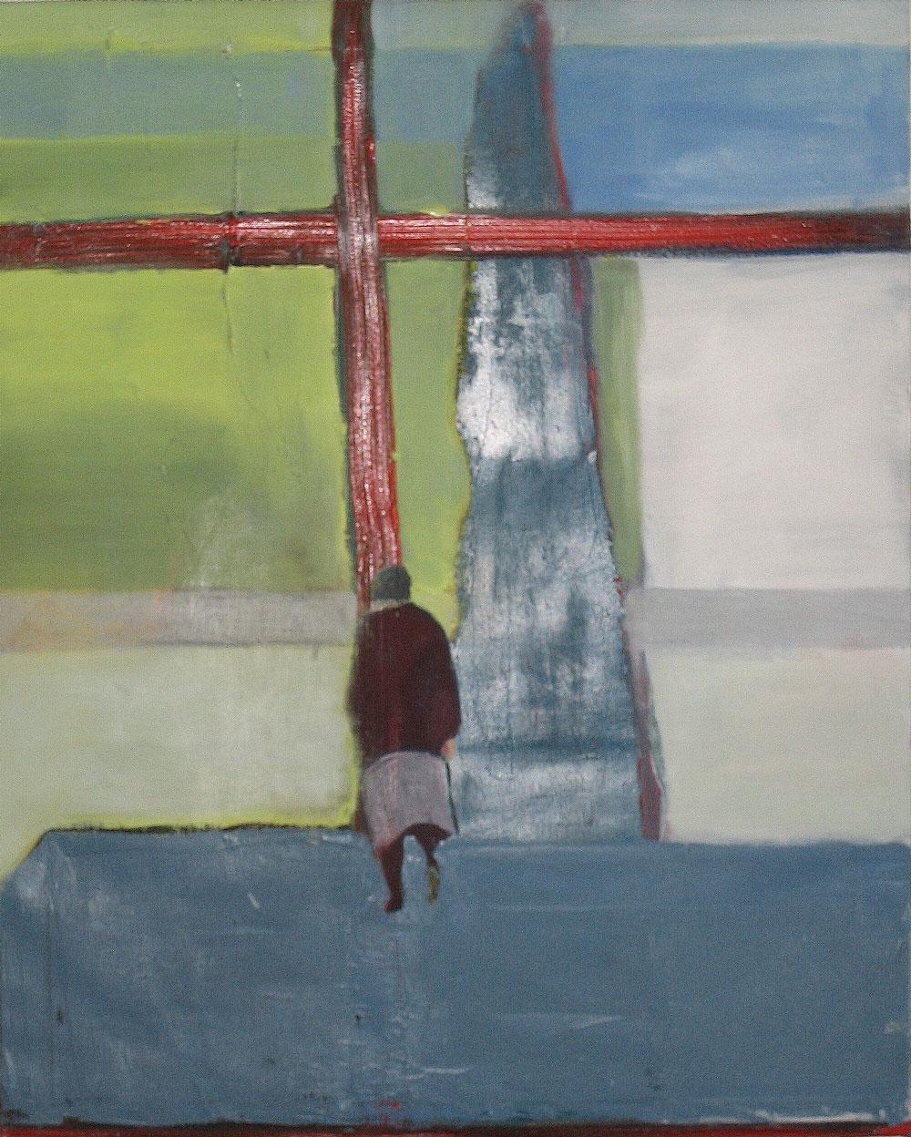 eine alte Frau geht auf ein rotes Kreuz zu