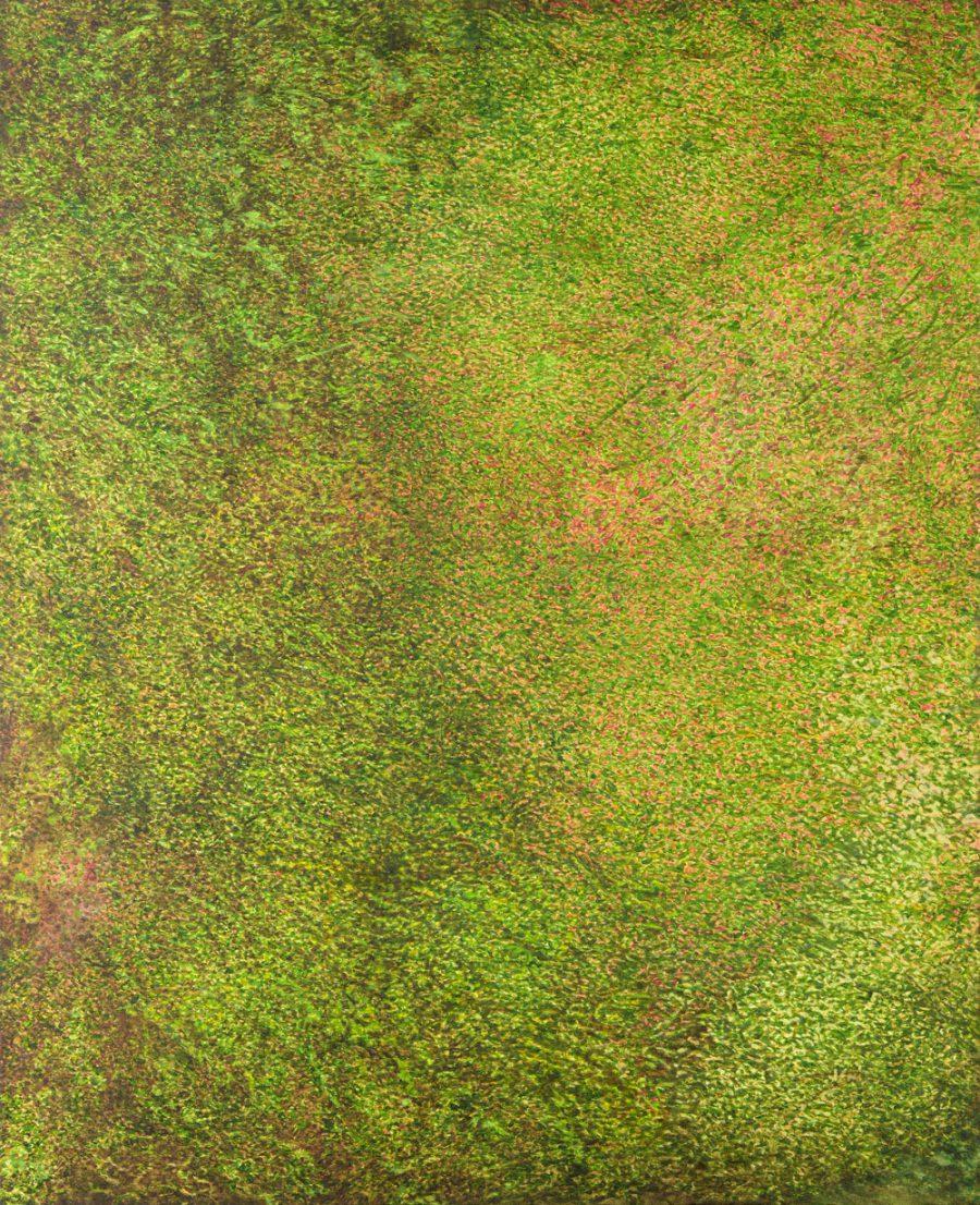 Pointillismus, grünes dichtes Buschwerk
