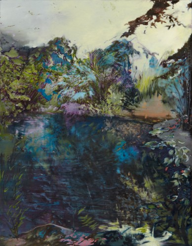 wilde Vegetation ineinandergreifend umschließt in strudelförmiger Bewegung dunkelblaues Wasser