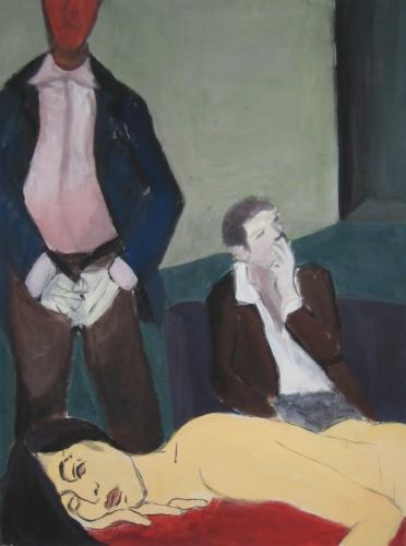 Eine schöne nackte Frau liegt am vorderen Bildrand, hinter ihr stehen zwei Männer, einer raucht ein anderer nästelt am Schritt