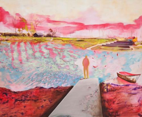 wilde Seelandschaft in giftig grün, pink und lila ein Mann ein Boot