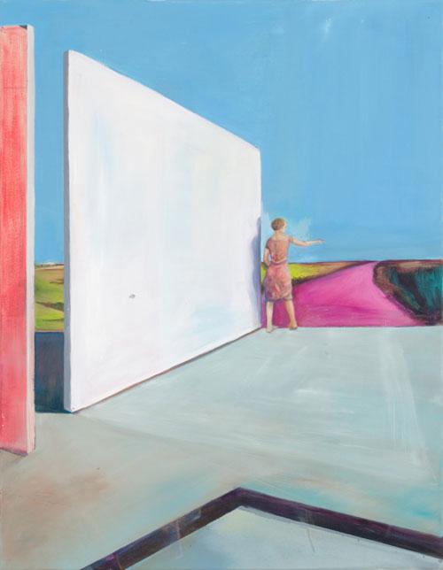 eine Frau mit rosa kleid steht an einer Kante und zeigt auf die Landschaft vor ihr mit Hndfläche nach oben, neben ihr Wände und alle Farben sind stark