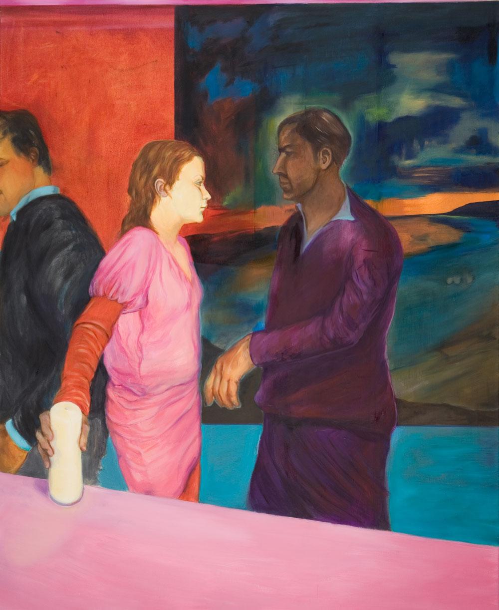 Dreiecksbeziehung, Frau im rosa Kleid, fleischige Hand