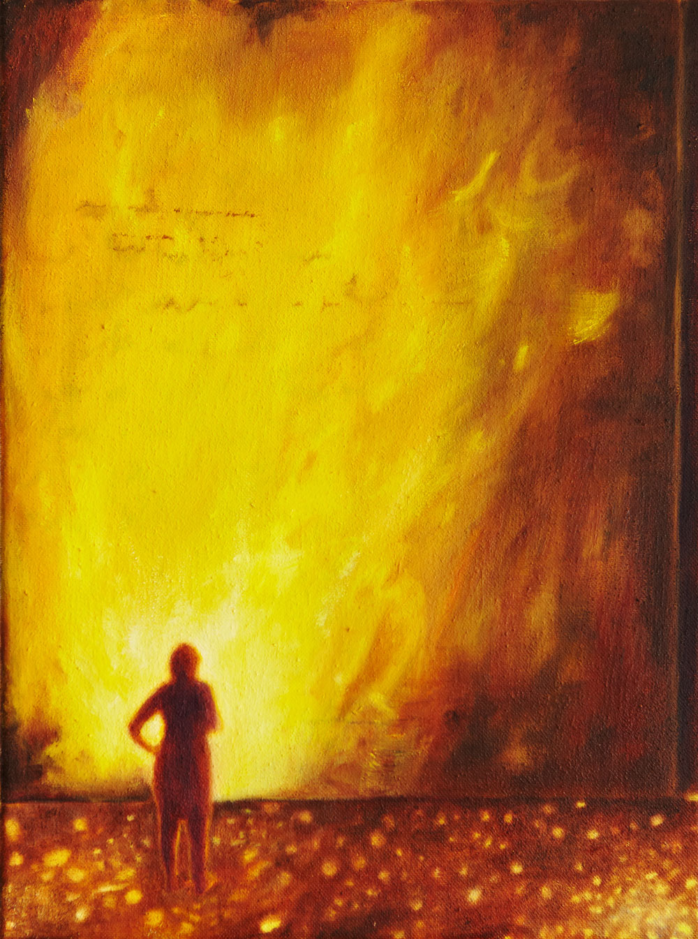 vor einer glühend gelben Wand wie aus Feuer steht eine weibliche Figur mit dem Rücken zu dem Betrachter, der Boden zu ihren Füßen scheint wie Lava zu schmelzen