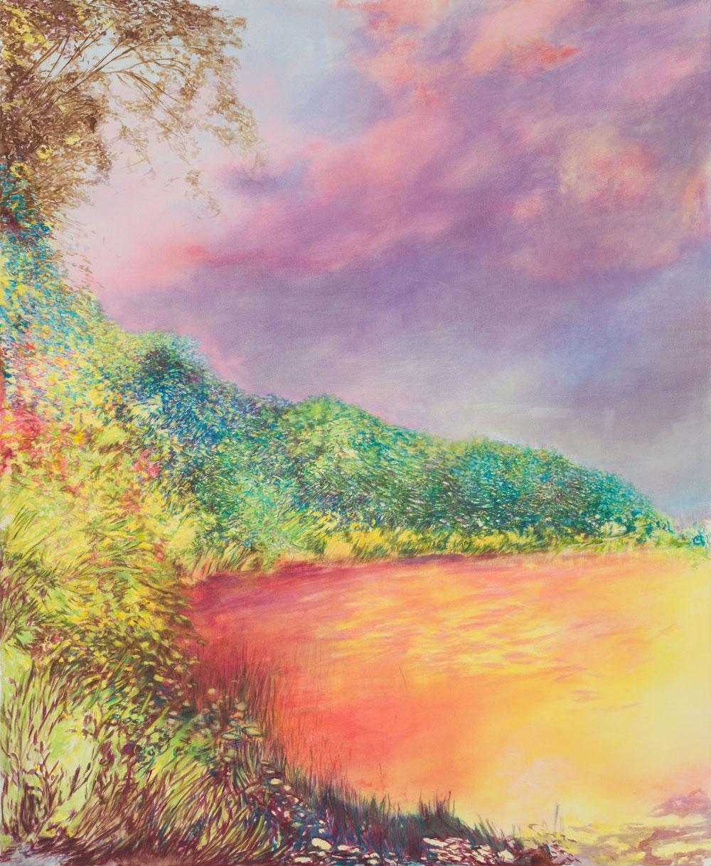 Ölbild. Ein blutrot leuchtender See umgeben von wild wuchernder Vegetation, die Farbigkeit irreell und wie vor oder nach dem Knall