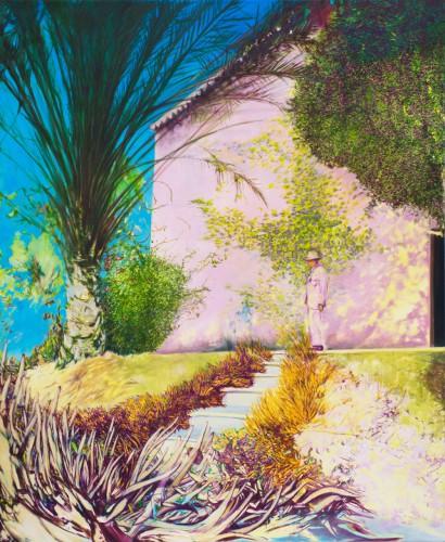 wildes Pflanzengeflecht fürht über eine lichtdurchflutete Treppe zu einem rosa Haus mit Palme linker Hand