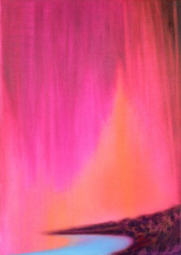 pink magenta farbener Himmel, tiefer Horizont. eisblau das Wasser in der Bucht